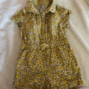 Old Navy 2T Yellow Floral Romper Half Button